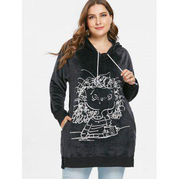 Plus Size Crushed Long Hoodie - BLACK L