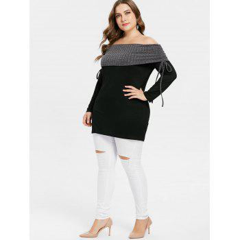 Plus Size Contrast Overlap Off Shoulder Tee - BLACK 2X