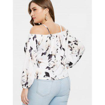 Plus Size Strappy Cold Shoulder T-shirt - WHITE 2X