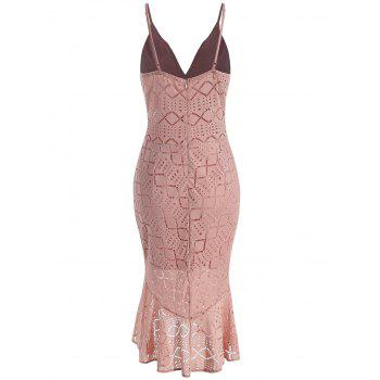 Spaghetti Strap Flounce Lace Dress - ORANGE PINK S