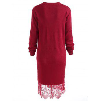 Plus Size Long Sleeve Lace Panel Sweater Dress - RED 3X
