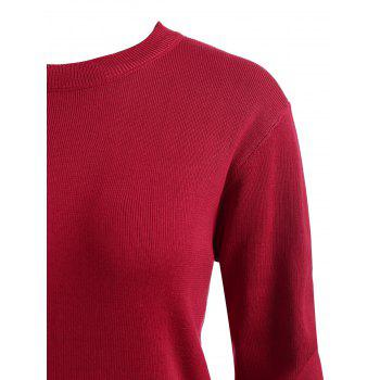 Plus Size Long Sleeve Lace Panel Sweater Dress - RED 5X