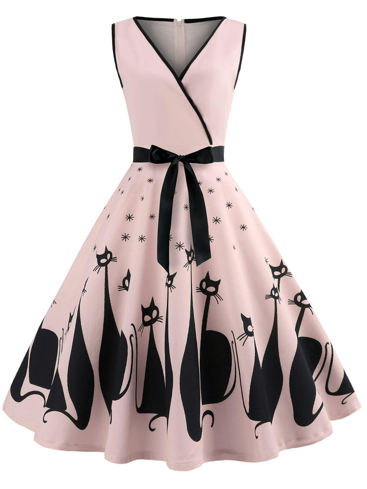 Sleeveless Cat Pattern A Line Dress - PINK 2XL