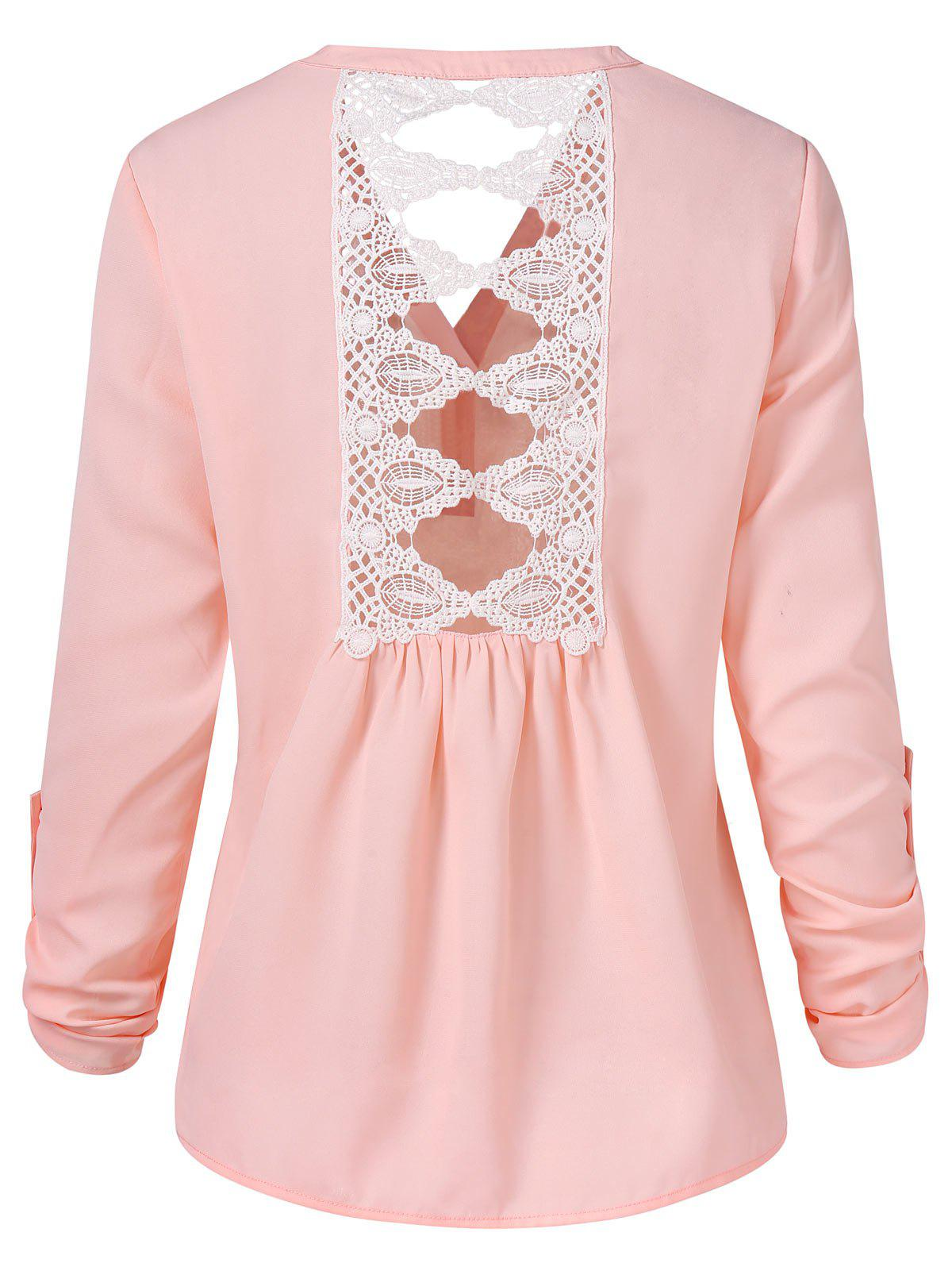 Cut Out Lace Panel Long Sleeve Blouse - LIGHT PINK M
