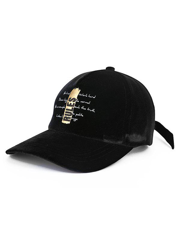 Vintage Letter Embroidery Baseball Hat, Black