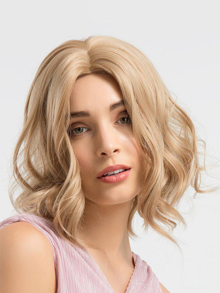 Center Parting Short Wavy Synthetic Wig - multicolor