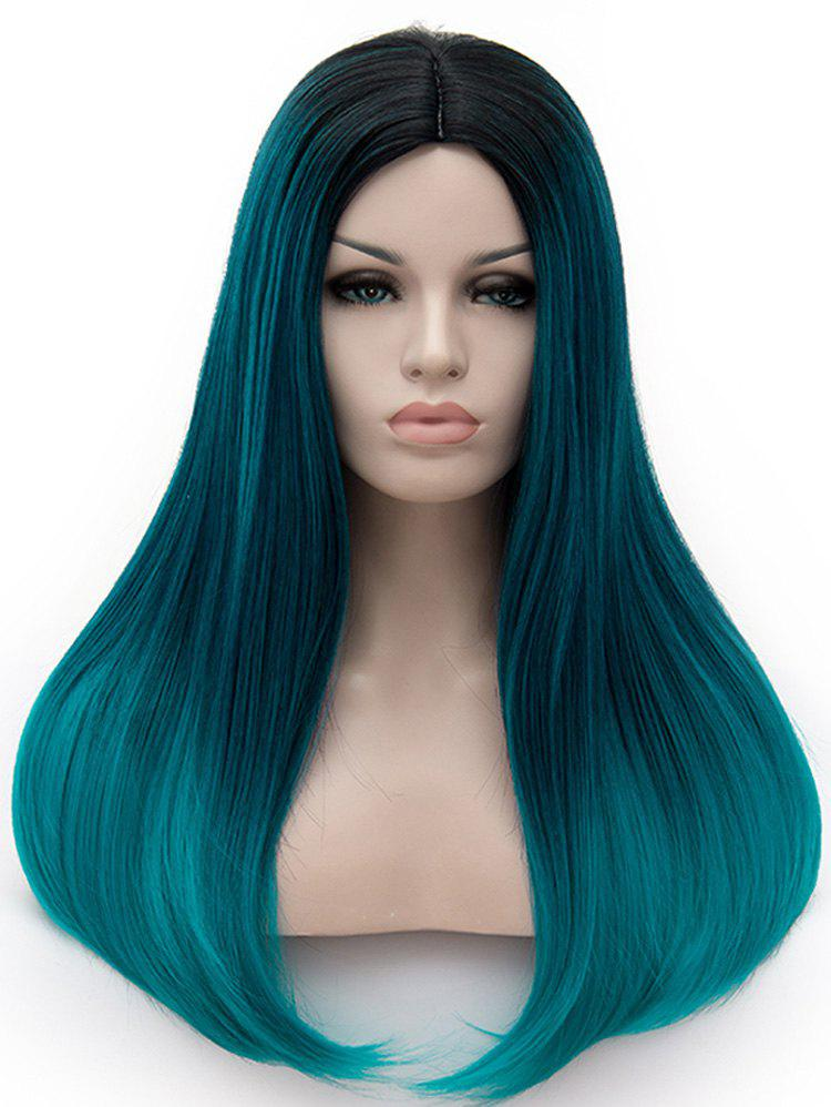 Long Middle Part Colormix Straight Cosplay Party Synthetic Wig - multicolor H