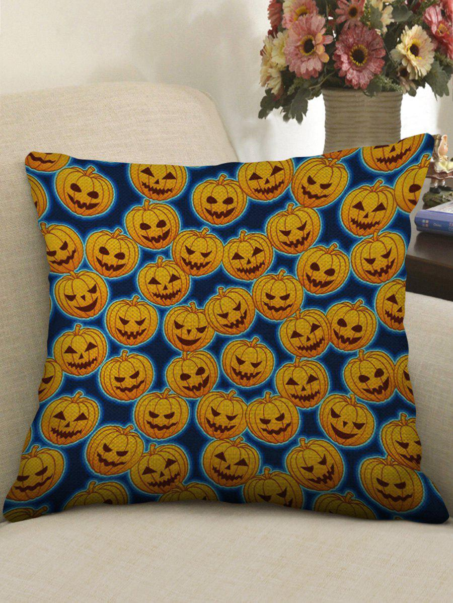 Halloween Pumpkins Print Linen Pillowcase - multicolor W17.5 INCH * L17.5 INCH