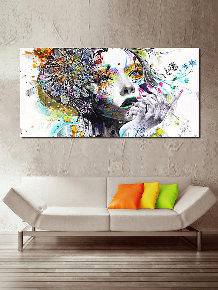 Beauty Girl Print Unframed Canvas Paintings - WHITE 45*90CM