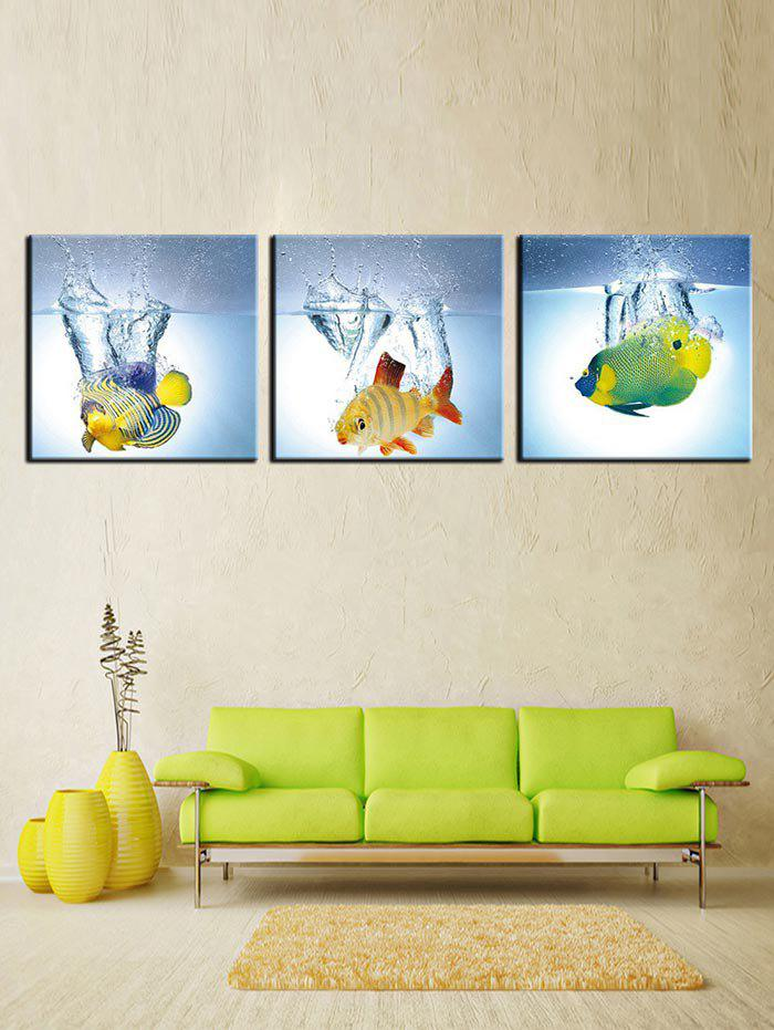2018 Fish Water Print Unframed Canvas Paintings multicolor PCS X X ...