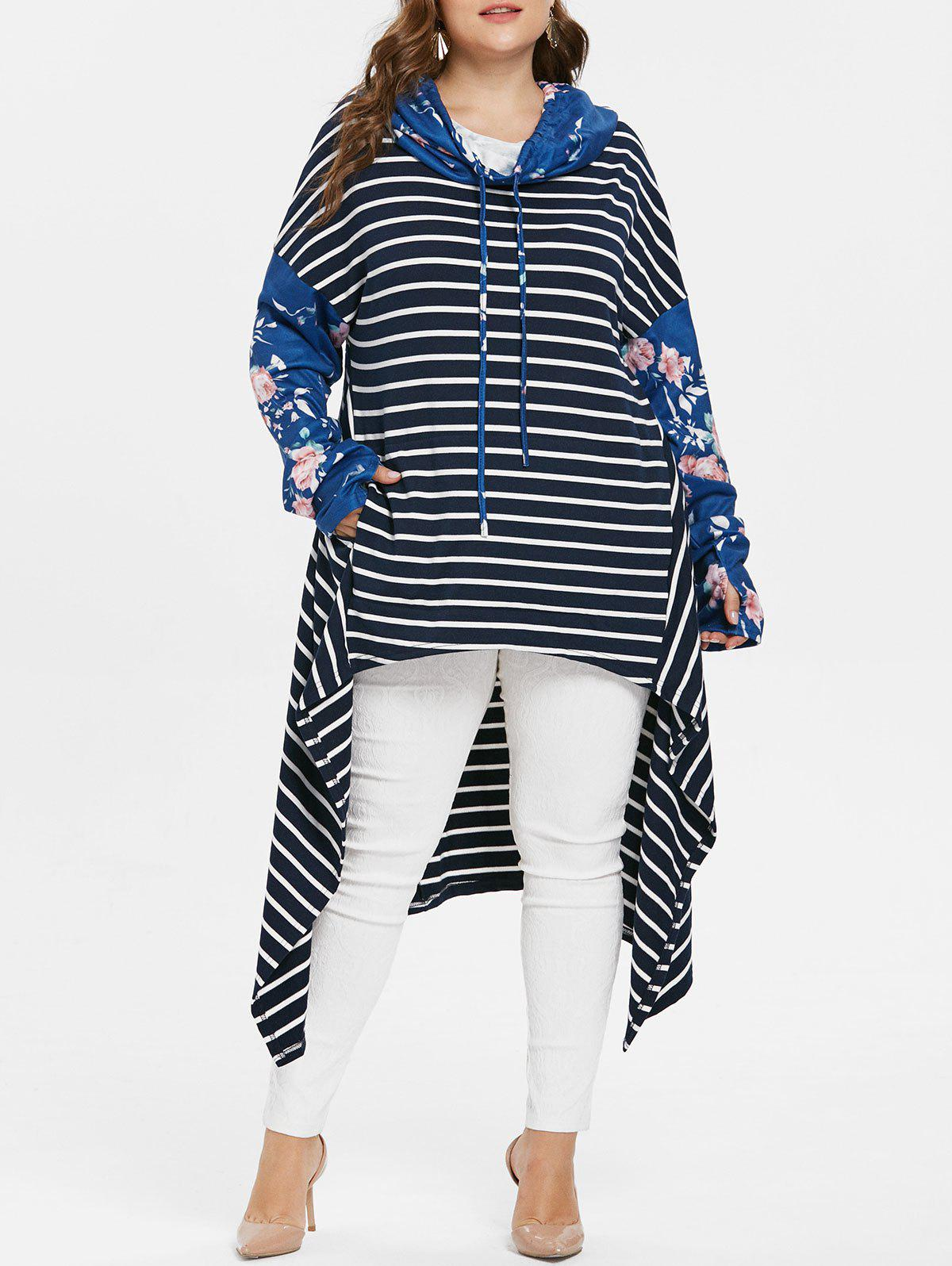 Plus Size Striped High Low Hoodie - BLUE 4X