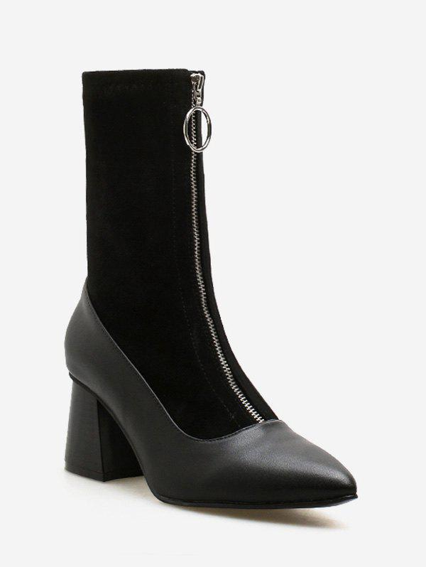 Bottines à Cheville Talon Carré à Bout Pointu - Noir EU 39