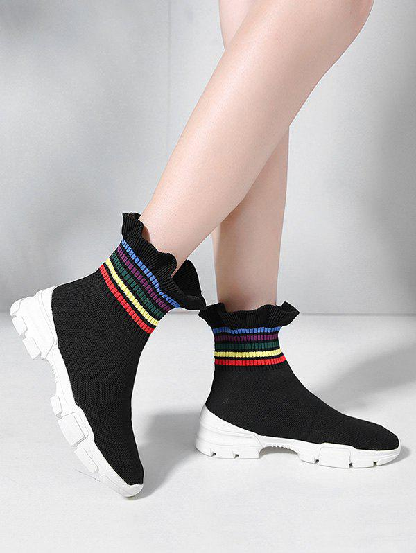 Striped Frilled Hem Lounge Sock Boots - BLACK EU 37
