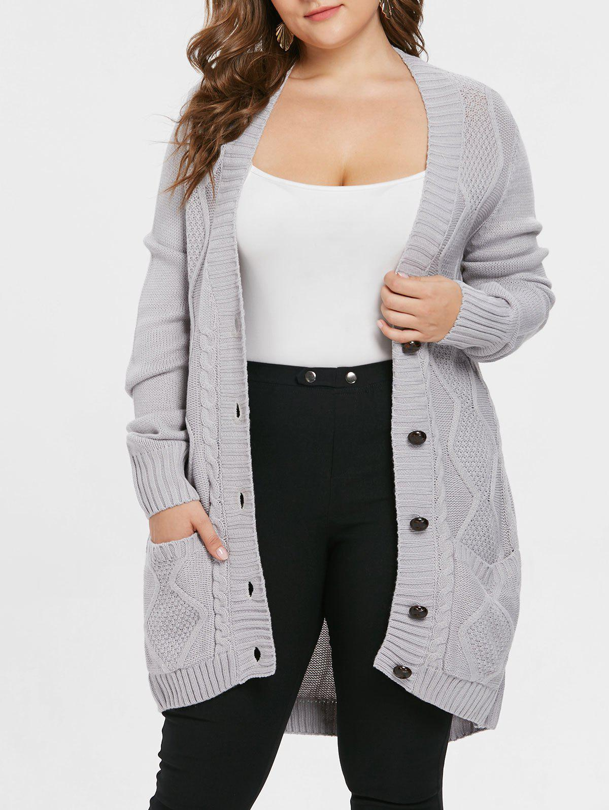 Front Pockets Plus Size Button Cardigan - GRAY 1X