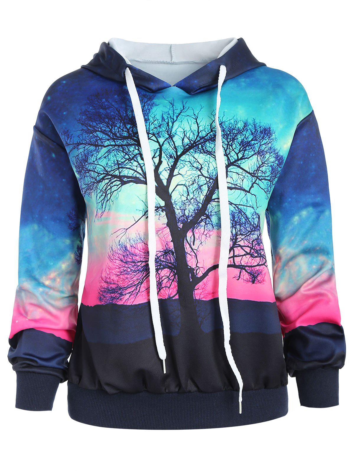 Galaxy Tree 3D Digital Print Pullover Hoodie - multicolor M