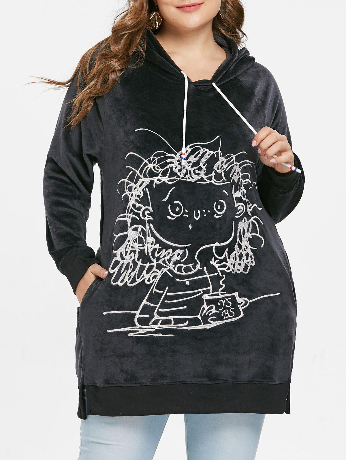 Plus Size Crushed Long Hoodie