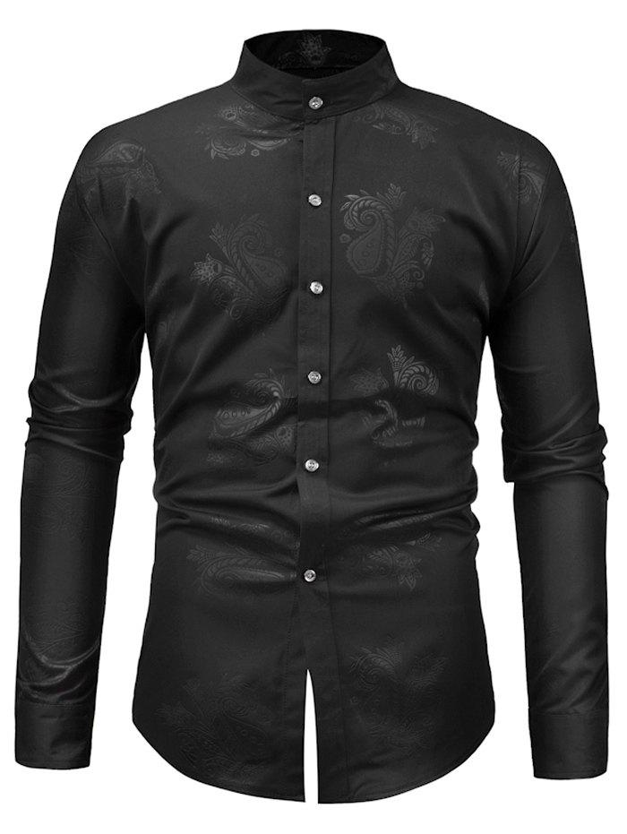 Paisley Print Slim Fit Shirt - BLACK S