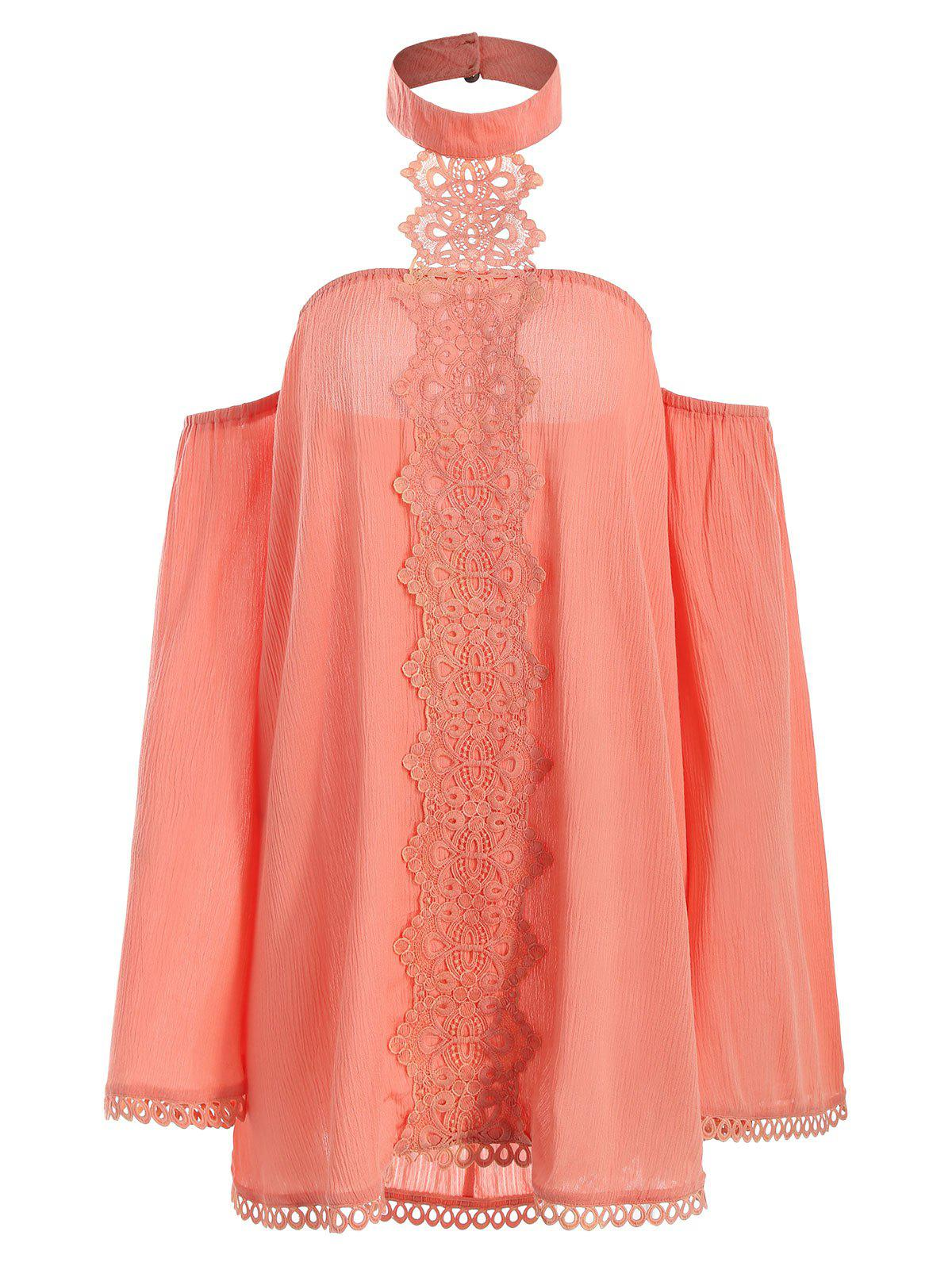 Halter Lace Insert Blouse - ORANGE XL