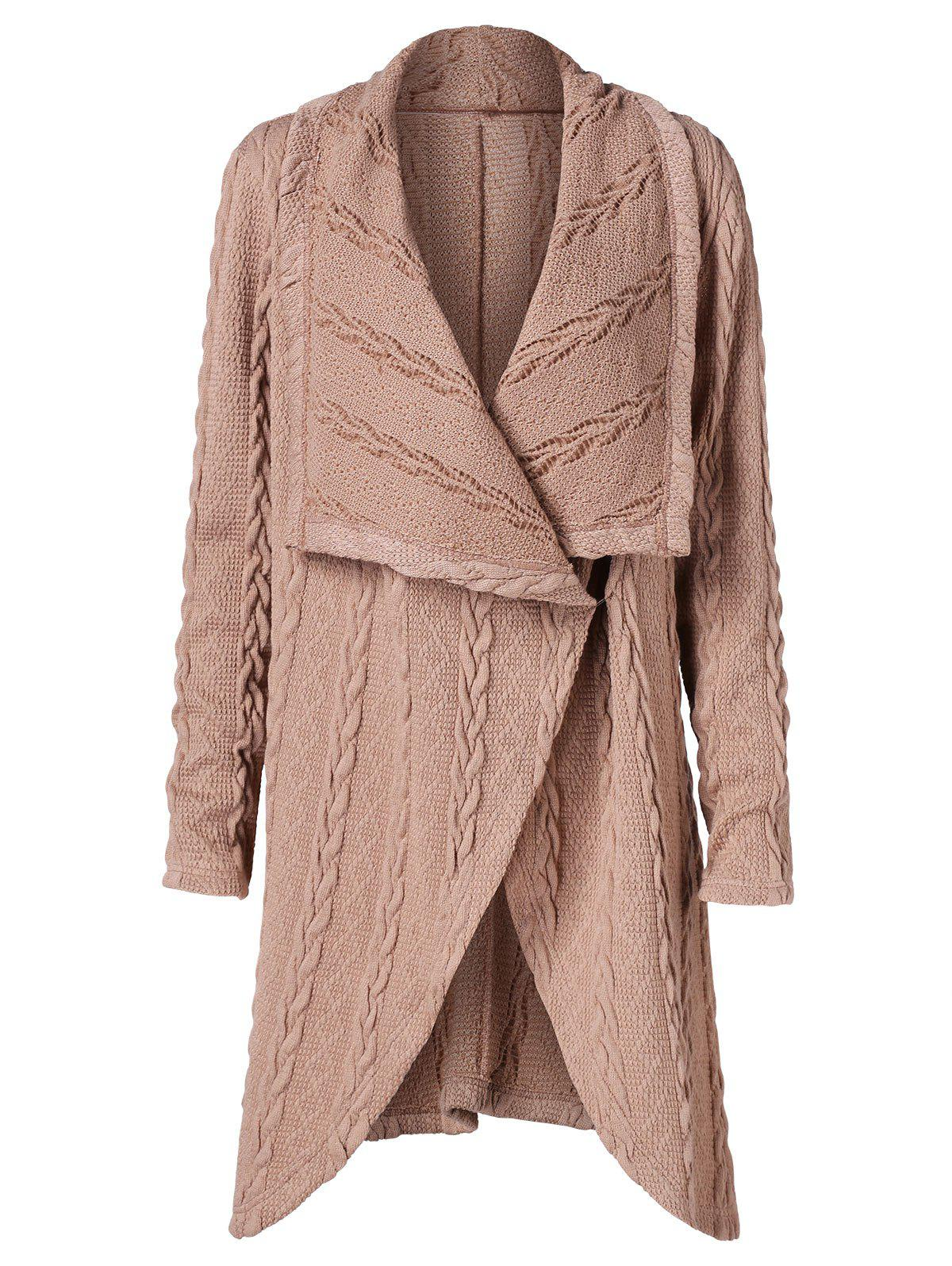 Draped Collar Long Cable Knit Cardigan - CAMEL BROWN M