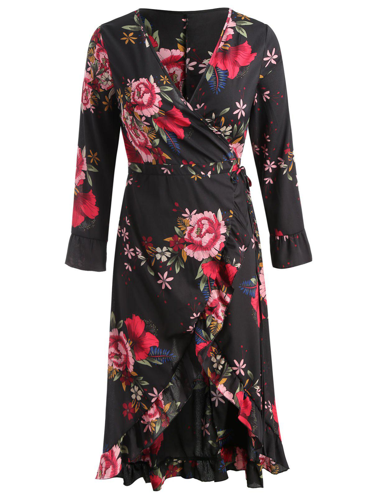 Long Sleeve Plus Size Floral Wrap Dress - BLACK 2X