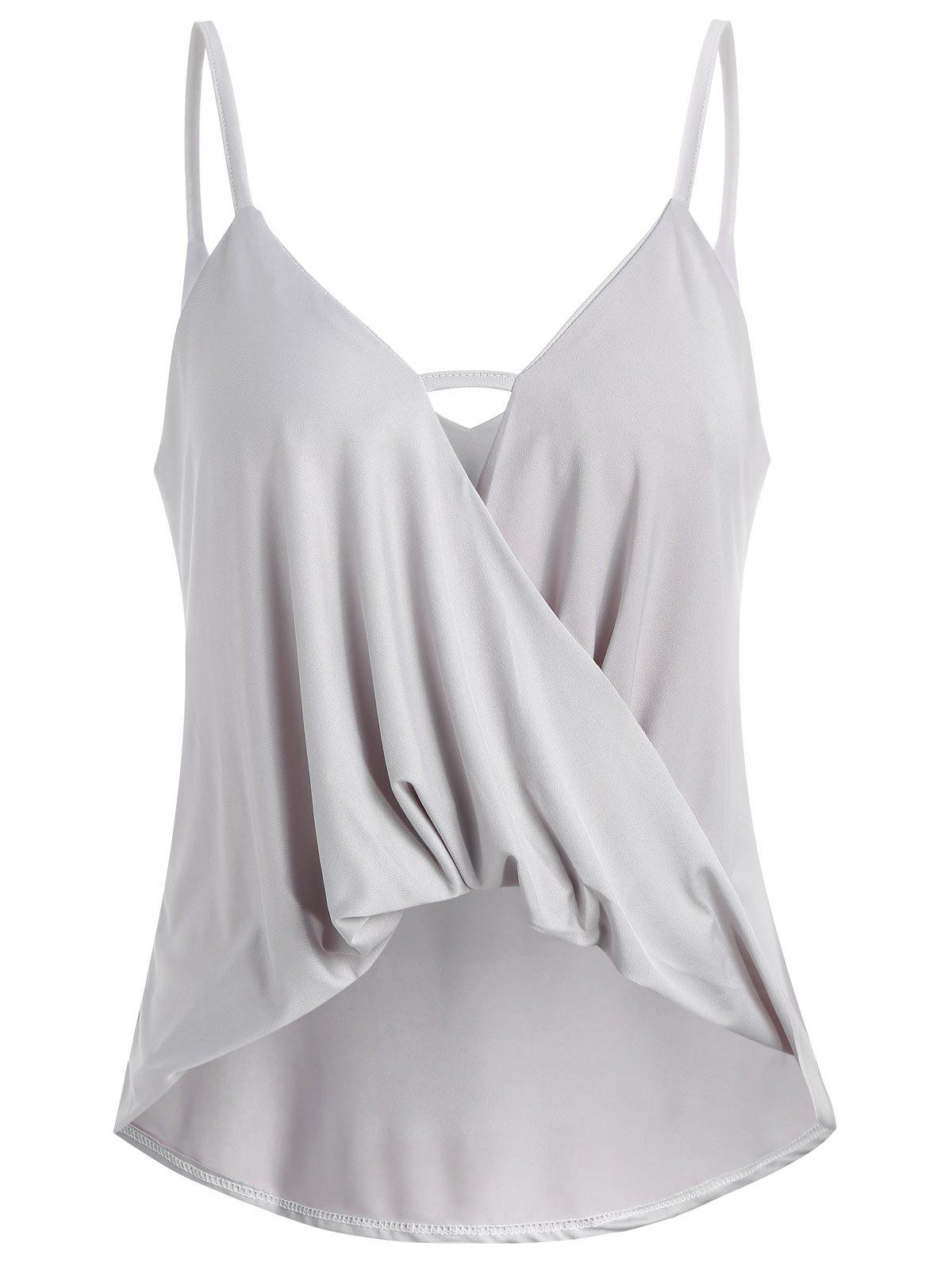 Thin Straps Twist Front Tank Top - LIGHT GRAY S