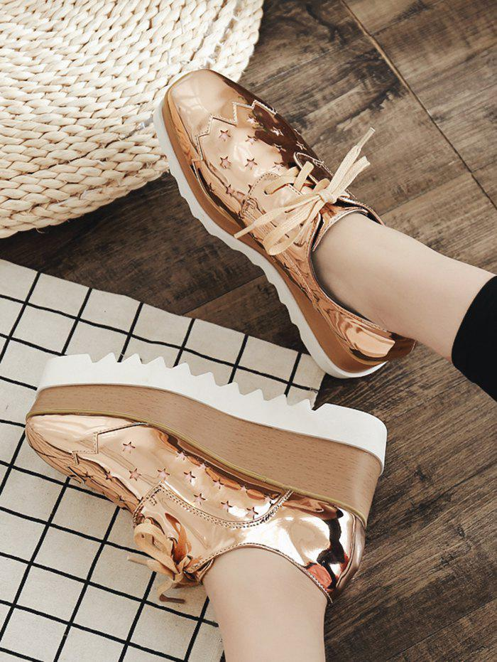 Shiny Star Square Toe High Platform Sneakers - CHAMPAGNE EU 37