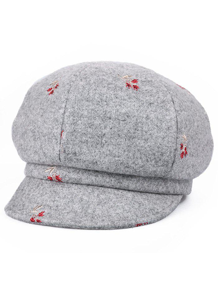 Vintage Floral Embroidery Newsboy Hat, Gray cloud