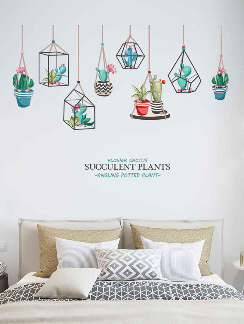 DIY Cactus Printed Removable Wall Sticker - multicolor
