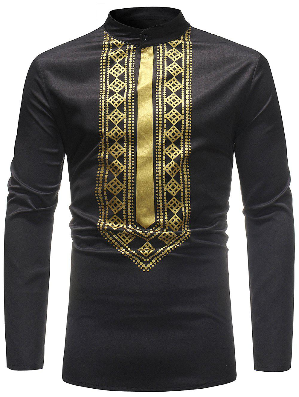 Stand Collar Ethnic African Print T-shirt