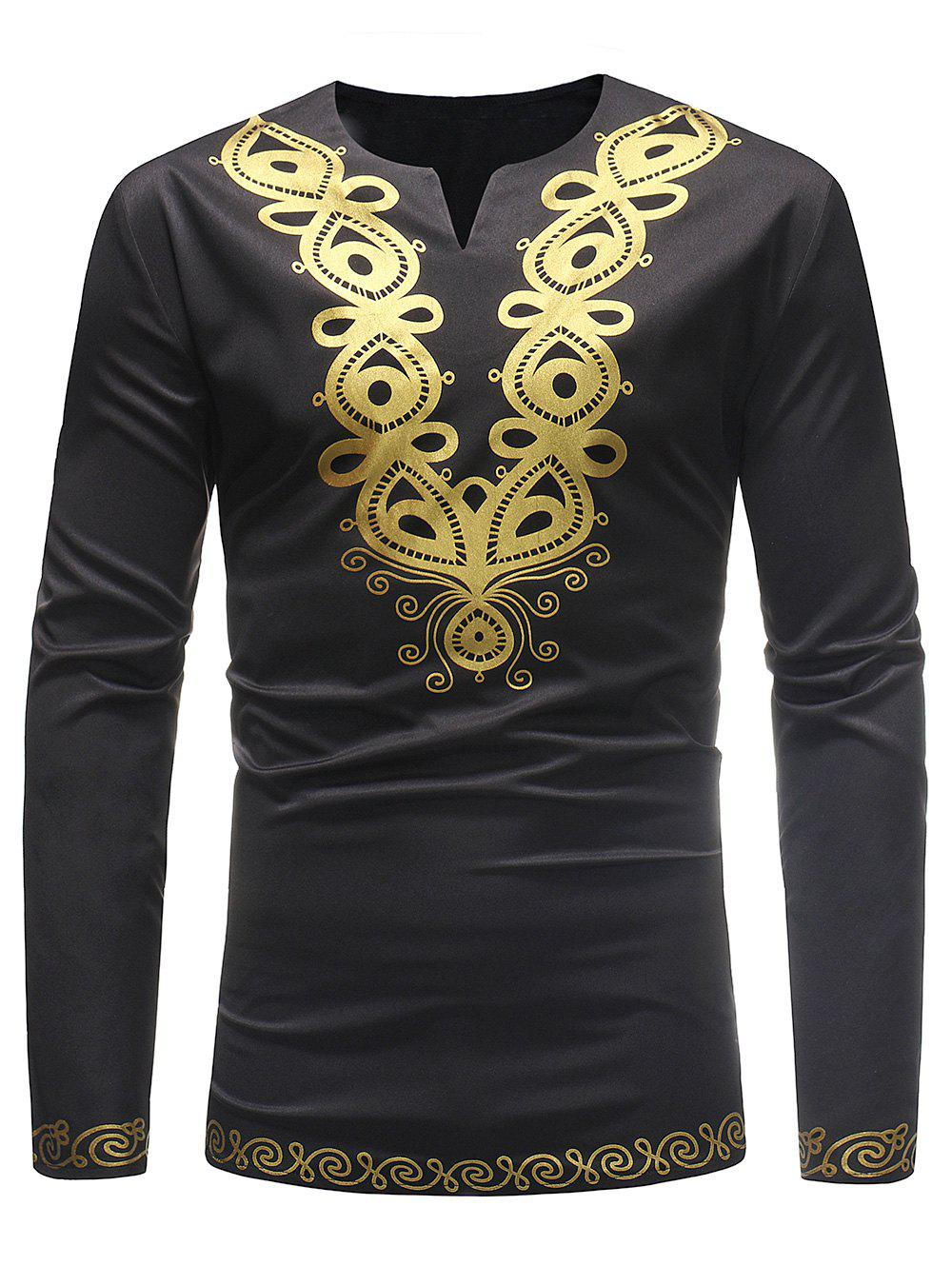 Notch Neck Ethnic African Print T-shirt