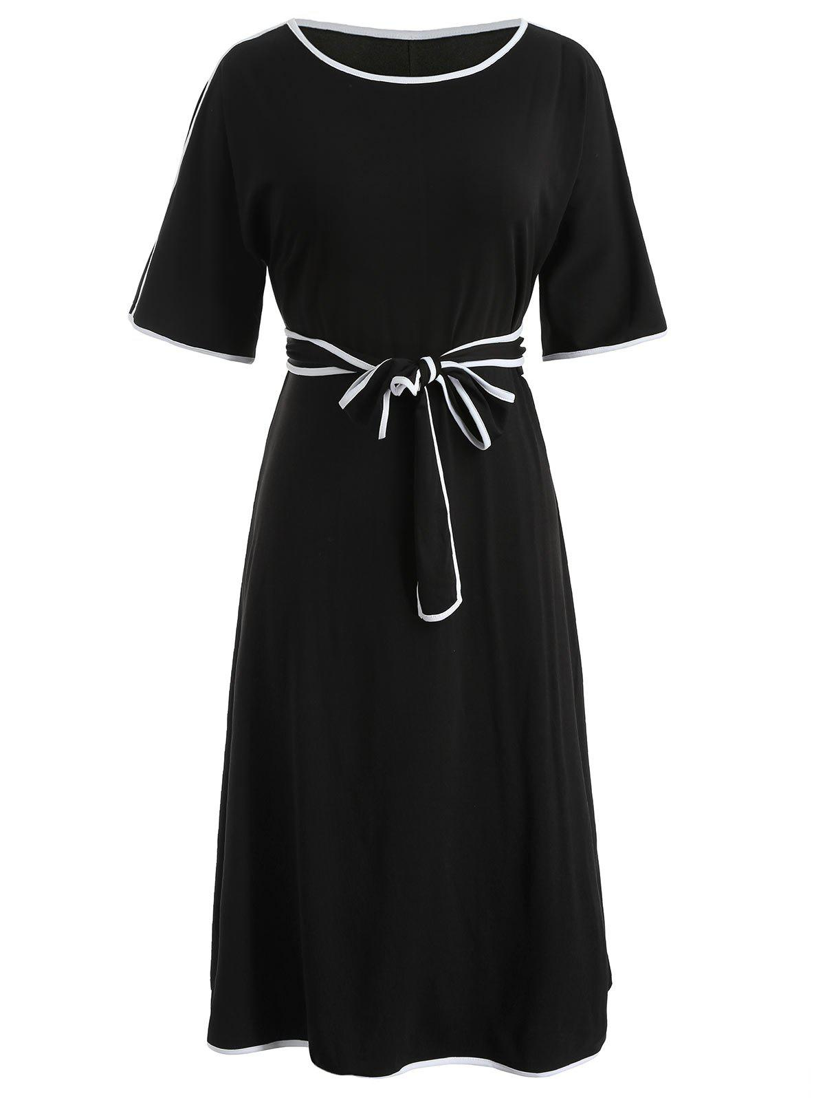 Plus Size Casual Belted Dress - BLACK 5X
