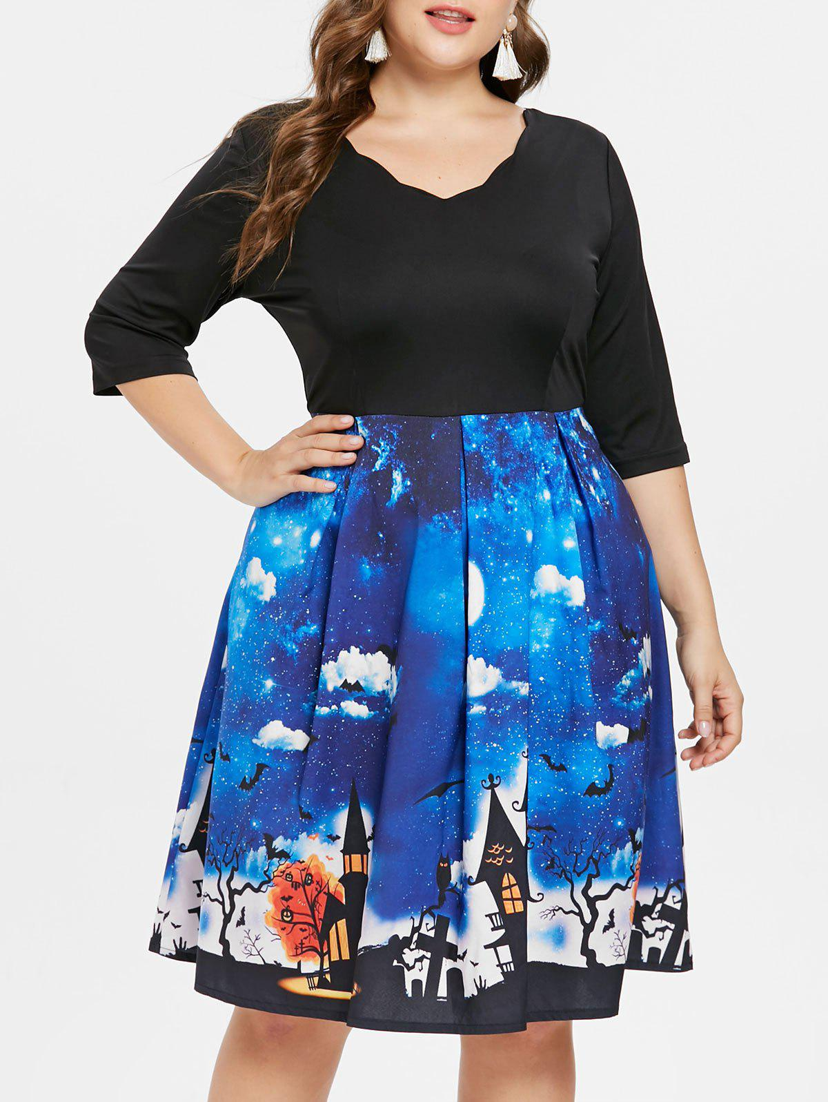 Plus Size Halloween Vintage Flared Dress