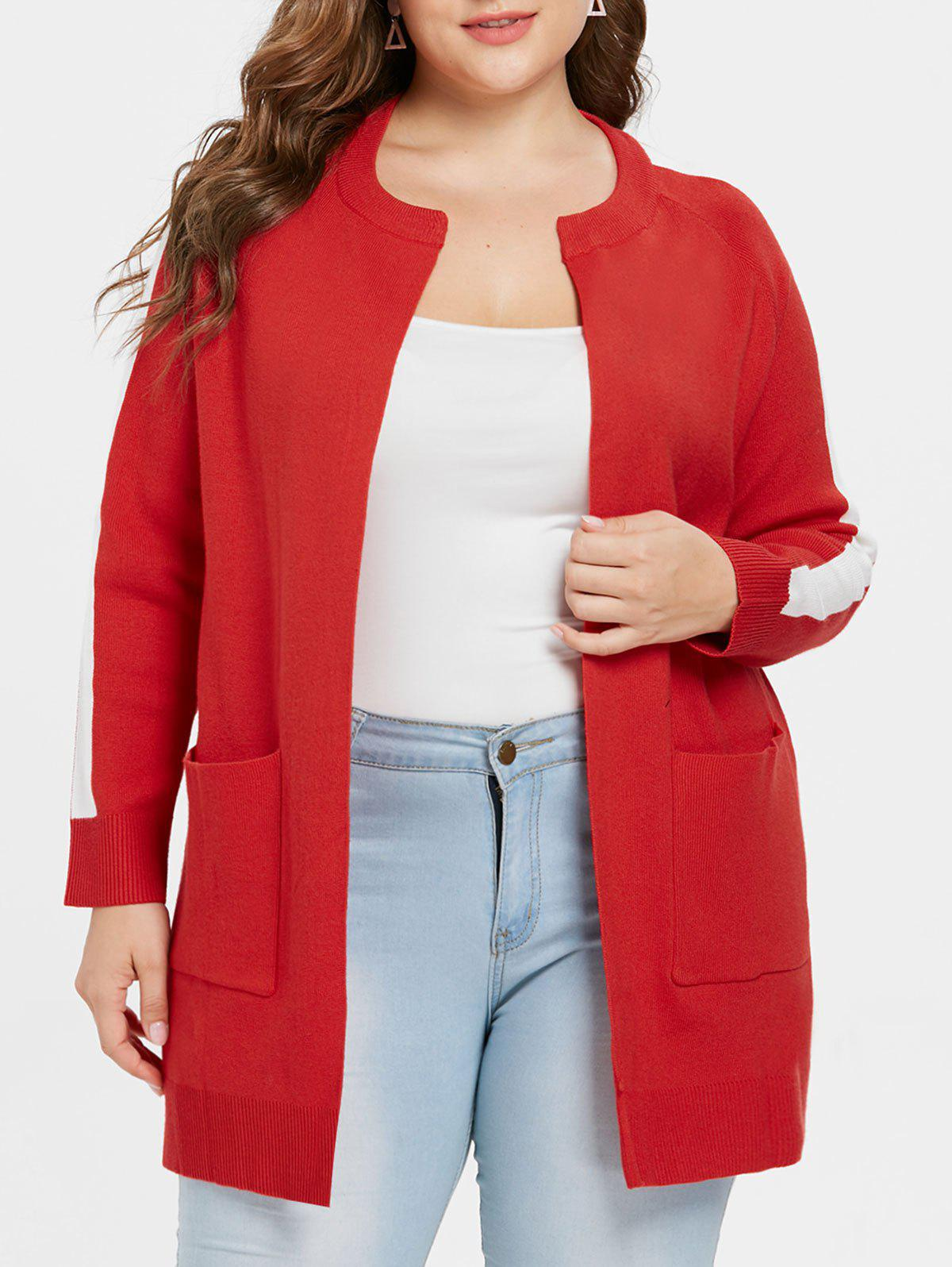 Plus Size Color Block Sweater Coat - RED L