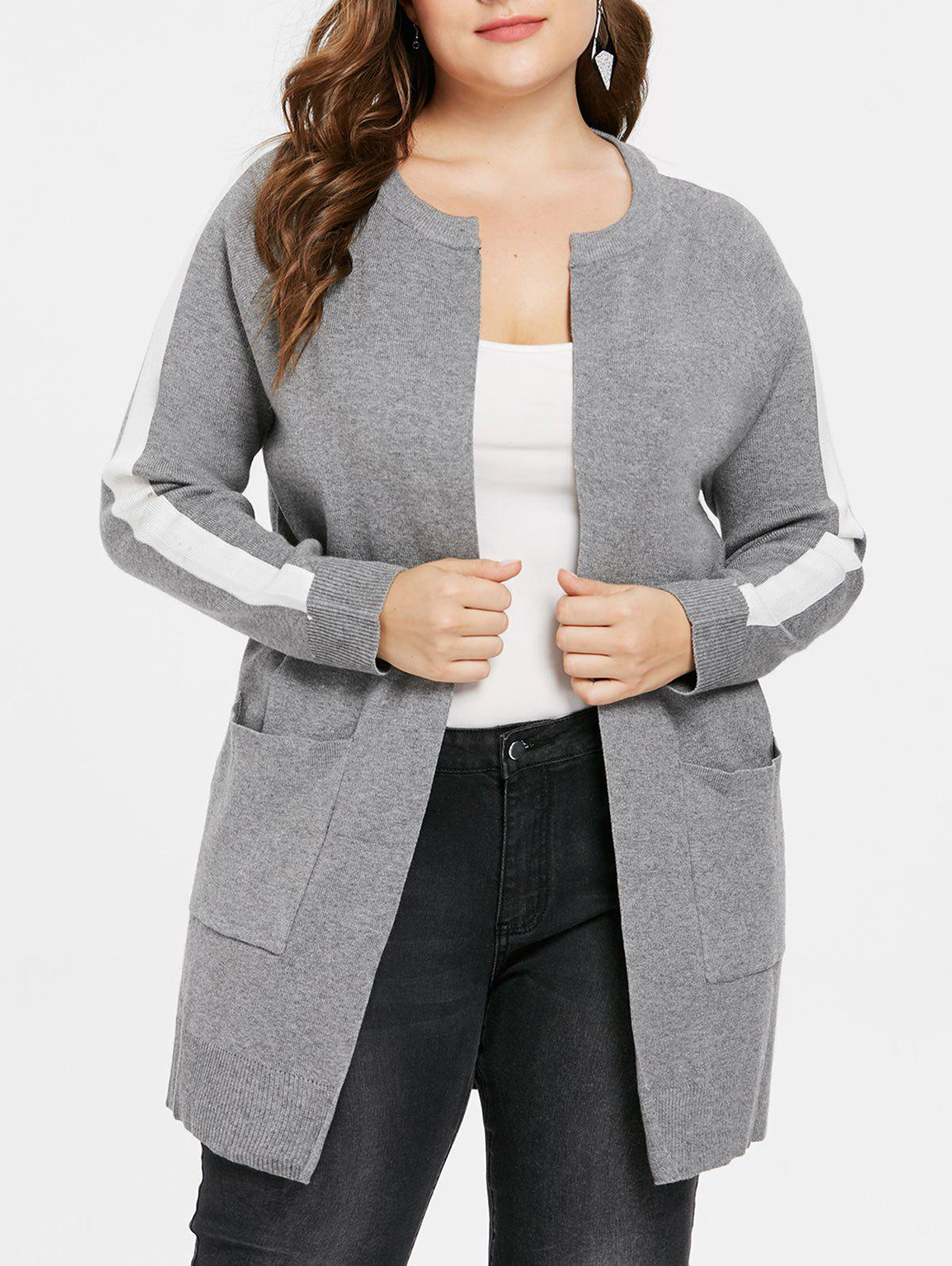 Plus Size Color Block Sweater Coat - GRAY L