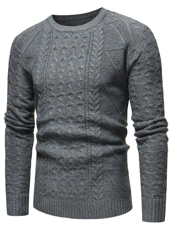 Jacquard Weave Casual Pullover Sweater - GRAY XS