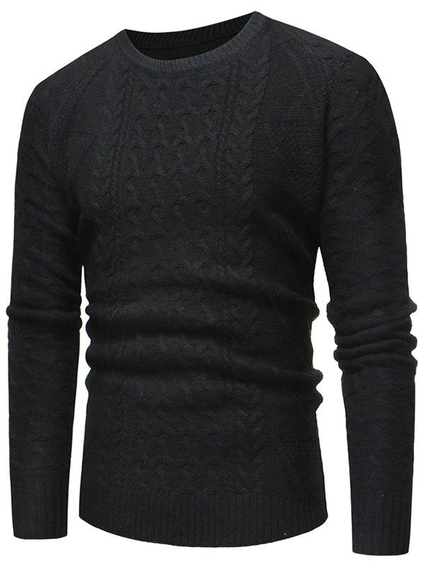 Jacquard Weave Casual Pullover Sweater - BLACK XS