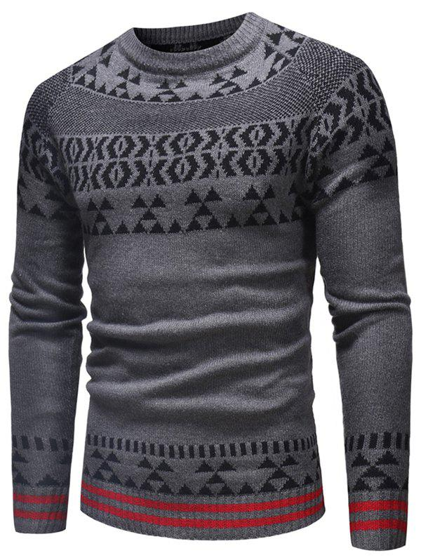 Raglan Sleeve Geometrical Pattern Weave Sweater - GRAY M