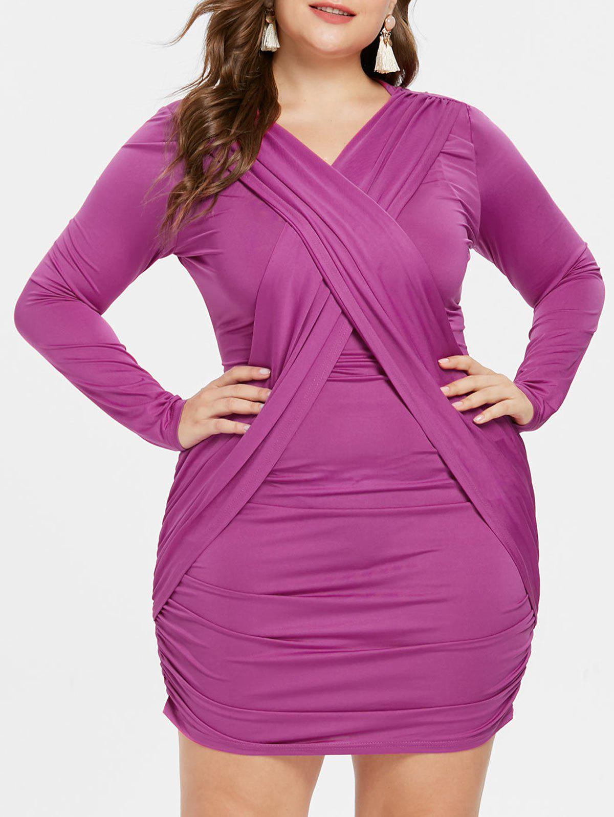 Plus Size Criss Cross Bodycon Dress - MEDIUM ORCHID 2X