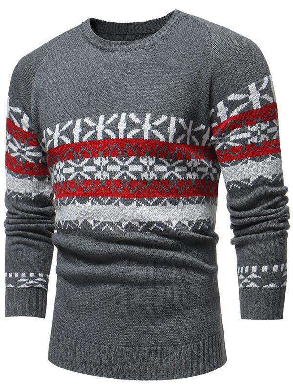 Jacquard Weave Round Neck Knitted Sweater - GRAY S
