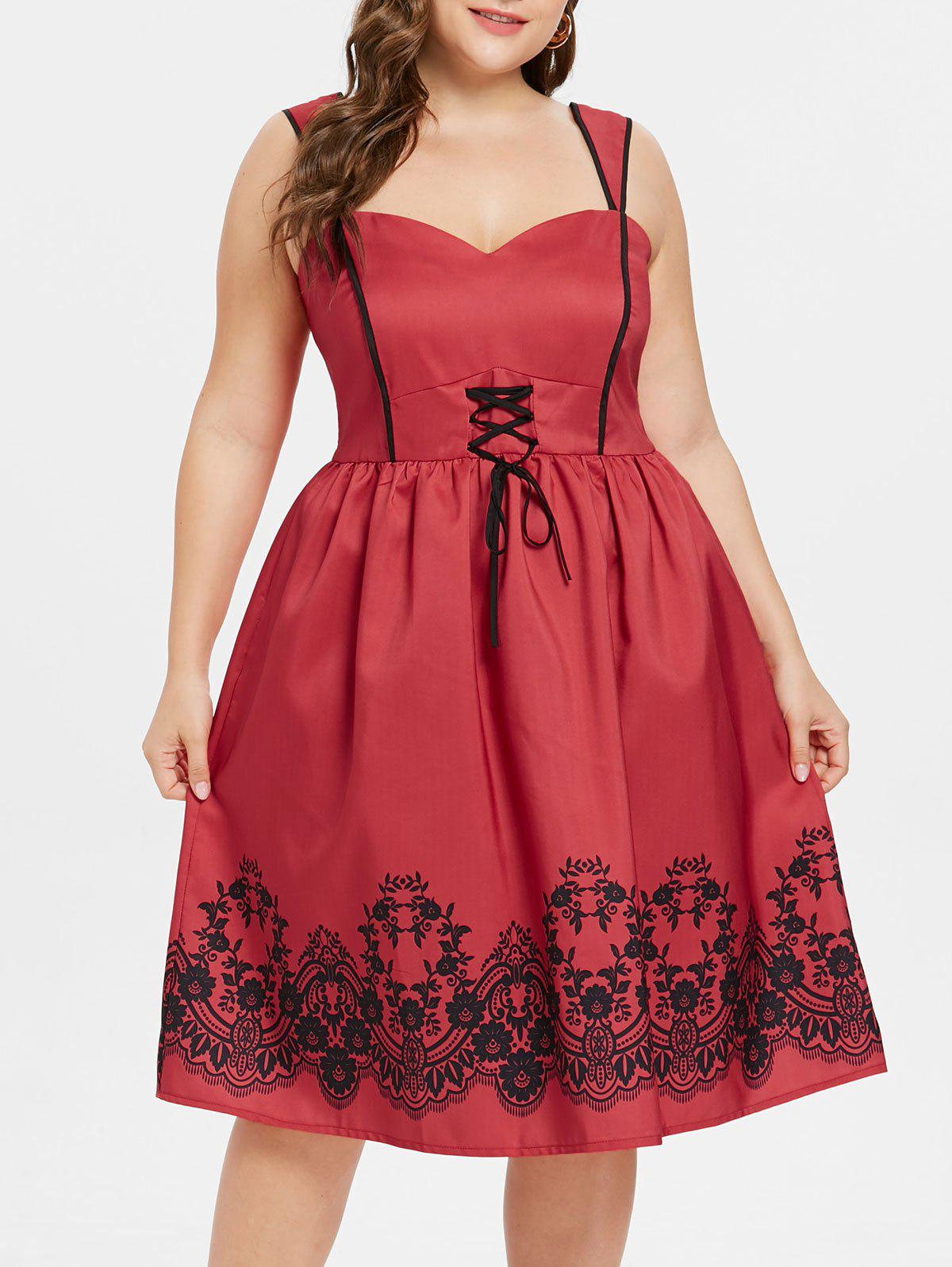 Plus Size Flared Sweetheart Neck Dress - RED 2X