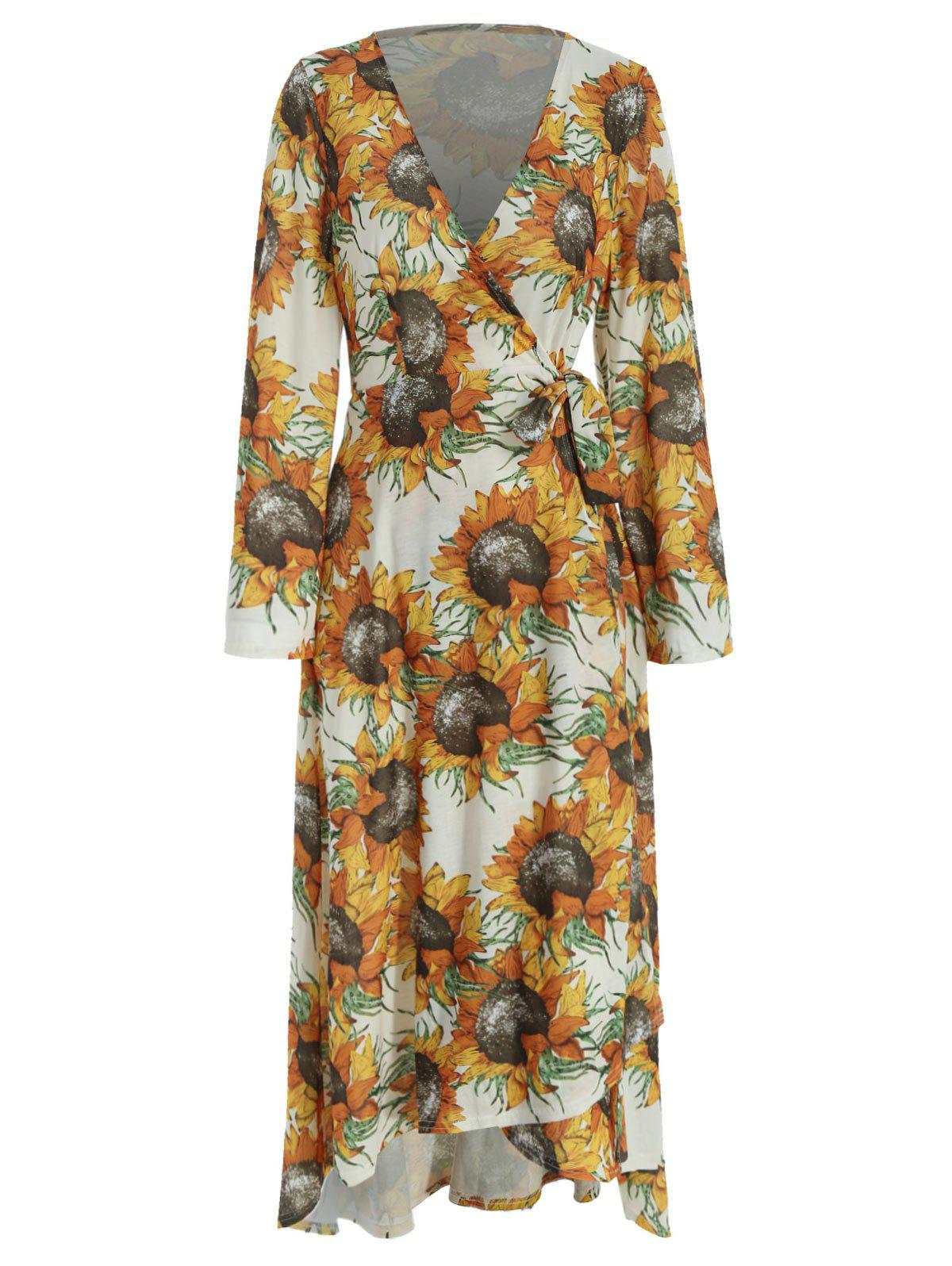 Sunflower Print Wrap Dress - multicolor S