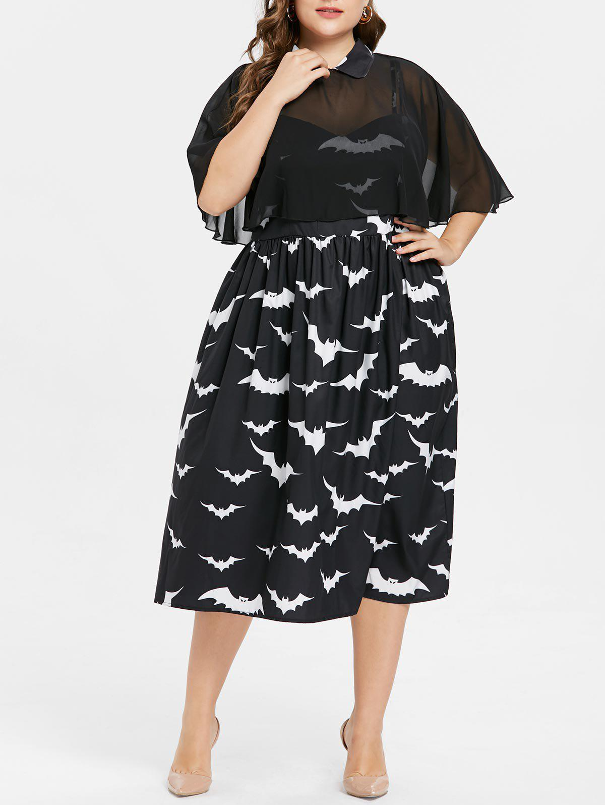 Halloween Plus Size Bat Print Capelet Dress - BLACK 2X