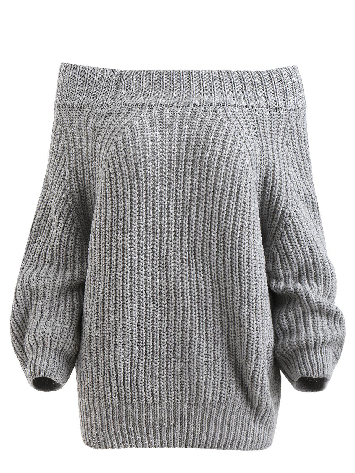Chunky Off The Shoulder Pullover Sweater -