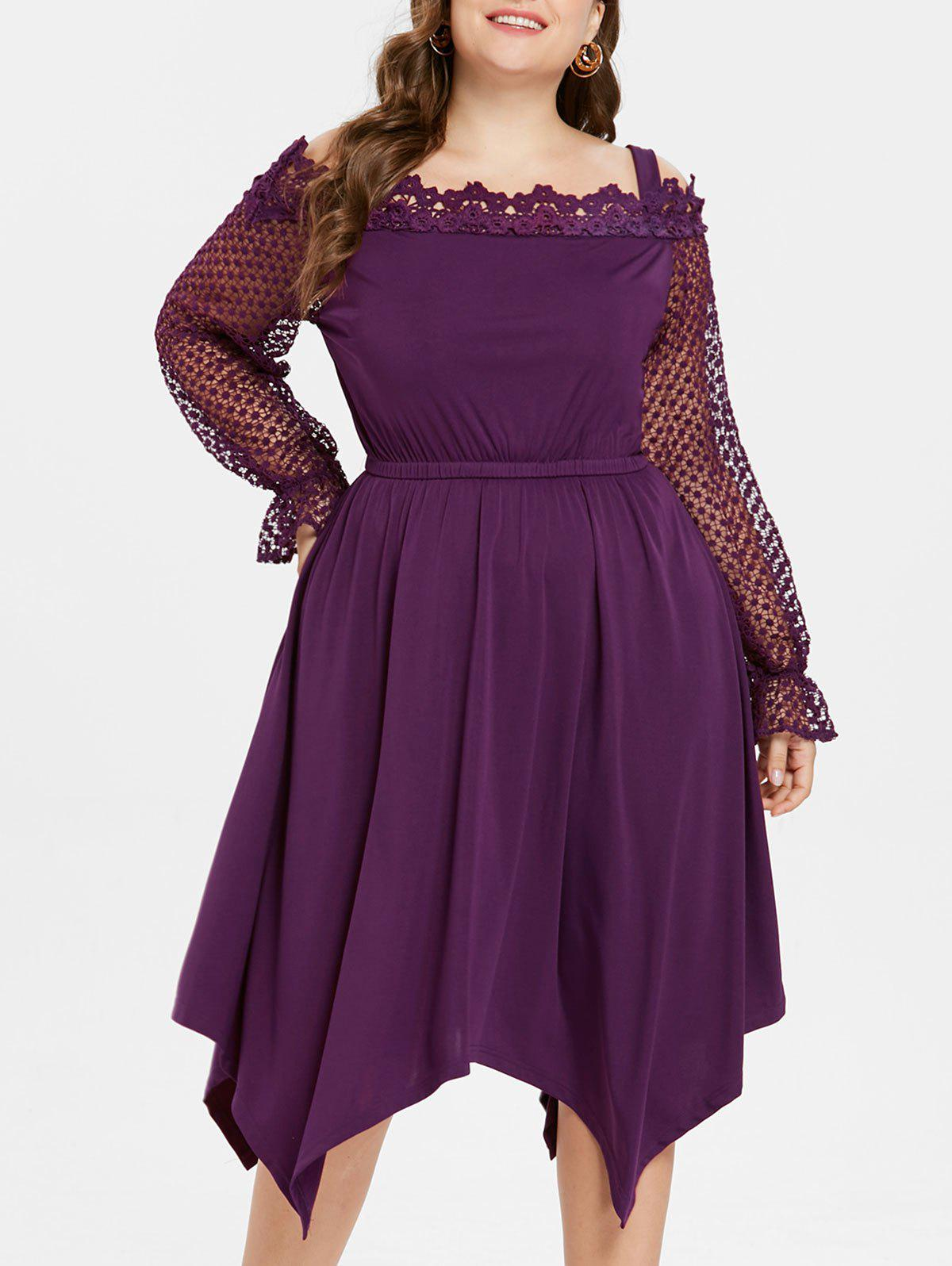 Elastic Waist Plus Size Crochet Lace Knee Length Dress - PURPLE 1X