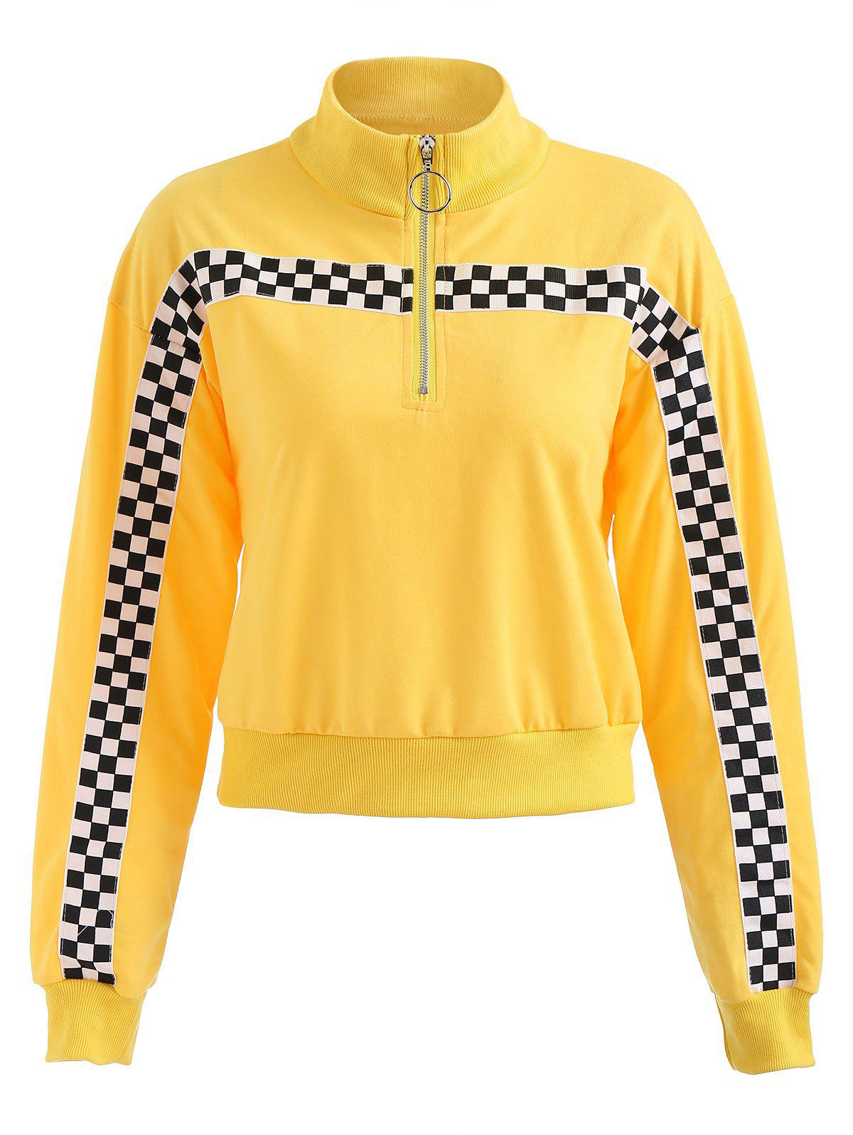 Half zip Check Panel Top - YELLOW L