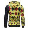 Single Sleeve Geometric Printed Pullover Hoodie - multicolor 2XL