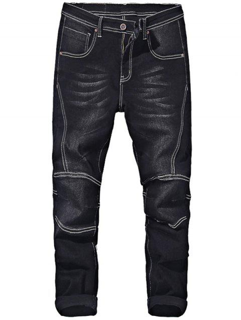 Taper Fit Zip Fly Jeans - BLACK 30