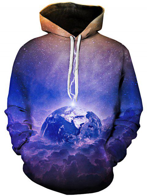 Earth Trippy Galaxy 3D Print Pullover Hoodie - COLORMIX 5XL