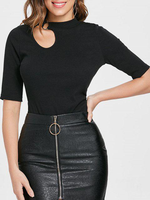 Cut Out Front Stretch Bodycon Knitwear - BLACK M