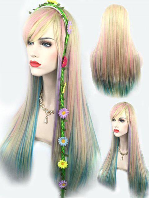 Long Inclined Bang Colorful Rainbow Straight Party Cosplay Synthetic Wig - multicolor